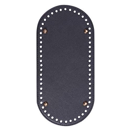 PH PandaHall 1 pcs PU Leather Oval Long Knitting Crochet Bags Nail Bottom Shaper Pad Bag Cushion Base with Holes Handbag DIY Shoulder Bags Accessories Black