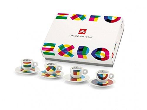 Illy 4 Tazze da caffè Cappuccino Decorate Expo Milano 2015, Ceramica, Multicolore