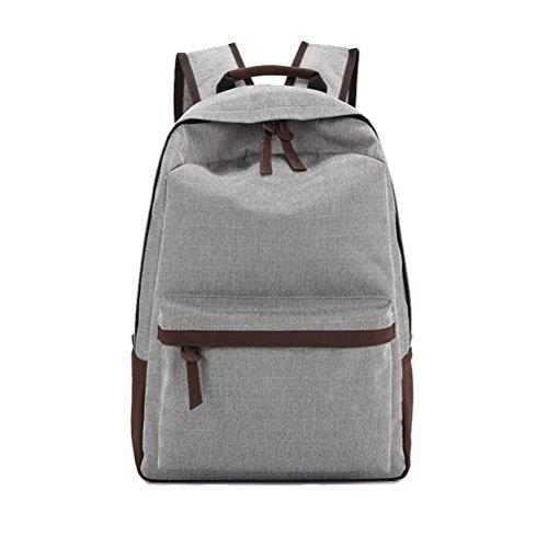 Umily Mochila Casual Escuela Mochilas de lona unisex Backpacks Canvas-Gris claro