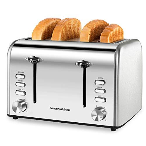 Bonsenkitchen Automatik Toaster 4 Scheiben, Edelstahl Toaster 1600W, 6 bräunungsstufen und 3 Moden (Auftau, Aufwärm sowie Abschaltungsmode), Abnehmbarer Krümelschublade, Silber