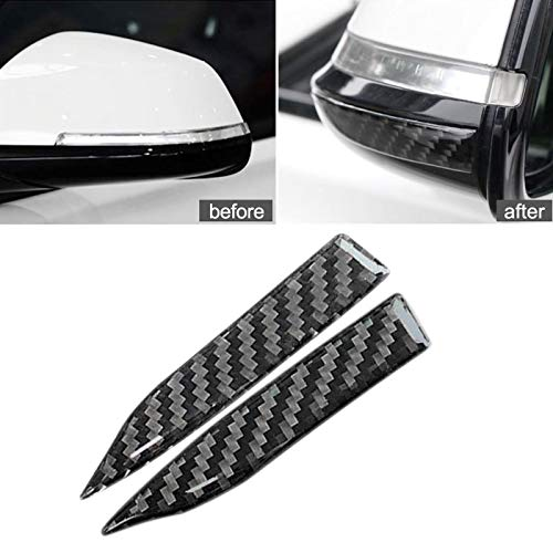 Xotic Tech Car Rearview Mirror Edge Protector Stickers, Carbon Fiber Anti-Scratch Guard Strips, Small Size, 3.9' x 0.67' (NOT Fit SUV Pickup Truck)