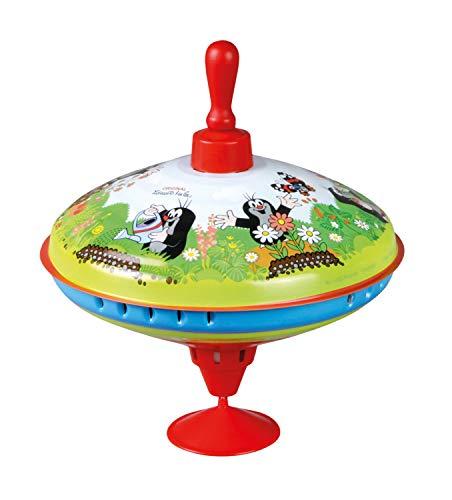 Lena 52249 x Der Kleine Maulwurf Brummkreisel Ø19 cm, Metall Kreisel, Schwungkreisel aus Blech, klassischer Pumpkreisel, Blechkreisel mit Spitze, Spielzeugkreisel für Kinder ab 18 Monate