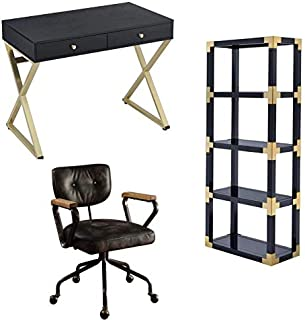 Coleen 3 Piece Office Set Desk with Swivel Office Chair and Bookcase Set