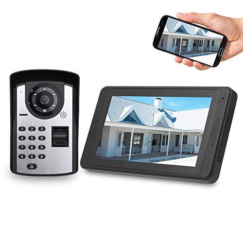 OWSOO 7'' Videoportero WiFi Cableado, 1000 Huellas Dactilares + Contraseña + Desbloqueo Remoto, Control Remoto de App, Visión Nocturna, Intercomunicador Manos Libres y Función de No Molestar