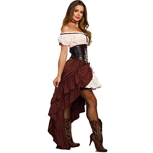 Dreamgirl Damen Kostüm Saloon Girl Kleid Rock Korsett Western Cowgirl Fasching Karneval (XL)