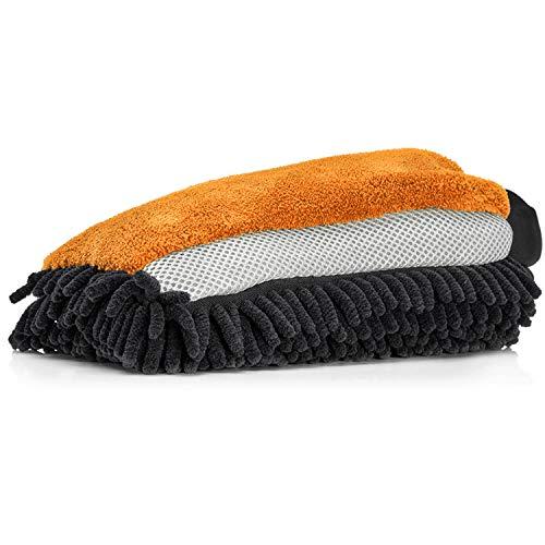 Nuke Guys - Guante de microfibra 3 en 1 para el lavado suave del coche; chenilla - malla de insectos - microfibra (naranja).