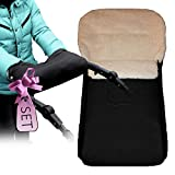 Baby-Joy SET Fußsack schwarz KAI 105 cm + Muff Handwärmer Kinderwagenhandschuh