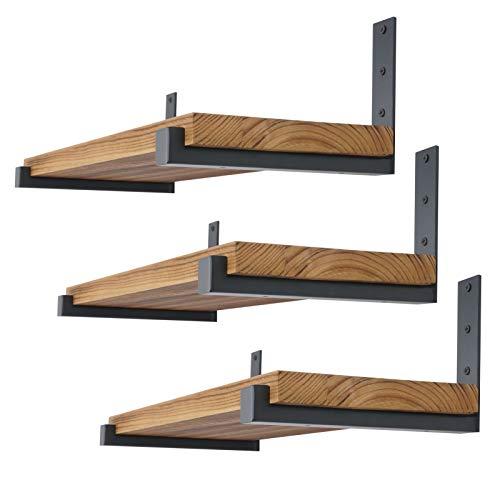 EZYDECOR 6Pcs Shelf Brackets 12inch Heavy Duty L Brackets Storage Shelf Supports Decorative Shelving Brackets with Lip (Black) 12