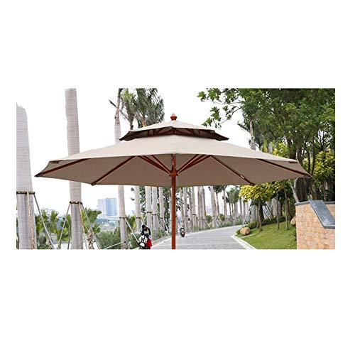 XBSXP Sombrilla de jardín Redonda de 2,7 m / 9 pies Protección Solar para Exteriores, manivela Resistente Impermeable (Bronceado) Albergue de Vacaciones Tienda Parque Sombrilla de Patio