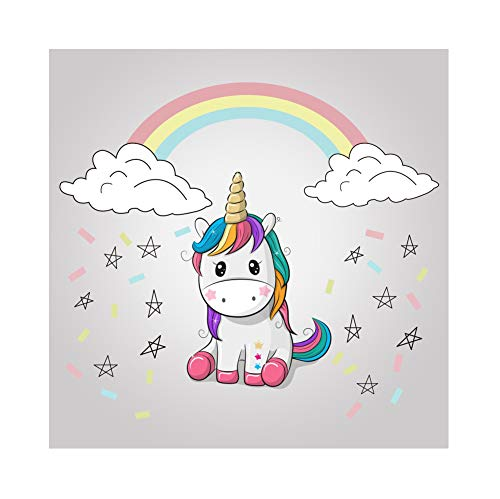 Leowefowa 1,5x1,5m Vinilo Unicornio Fondo de Fotografia Dibujos Animados Cumpleaños Arco Iris Papel picado Nube Fondo de Pantalla de la Estrella Telón de Fondo Photo Booth Infantil Party Studio Props