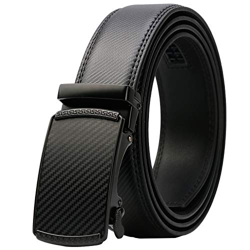 Lavemi Men's Real Leather Ratchet Dress Belt with Automatic Buckle,Elegant Gift Box(55-44371 44')