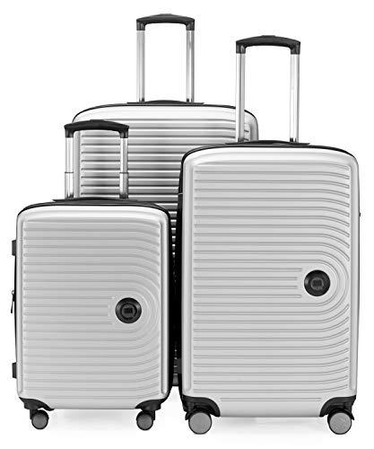 HAUPTSTADTKOFFER - Mitte – Set di 3 valigie - bagaglio a mano da 55 cm, valigia media da 68 cm, valigia grande da 77 cm, in ABS rigido, TSA, Bianco