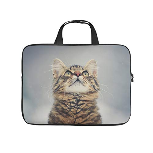 cat looking up cute animal Laptop bag Design Laptop Case Bag vintage Dust-Proof Laptop Sleeve with Portable Handle for Women Men white 12 zoll