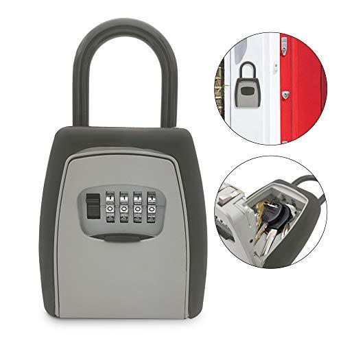 OWSOO キー収納ボックス 南京錠ロックボックス 4桁の組み合わせ ネジ継手なし