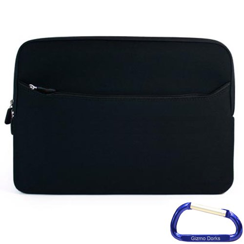 Gizmodorks Neoprene Zipper Sleeve Case Cover for Barnes & Noble Nook GlowLight - Black