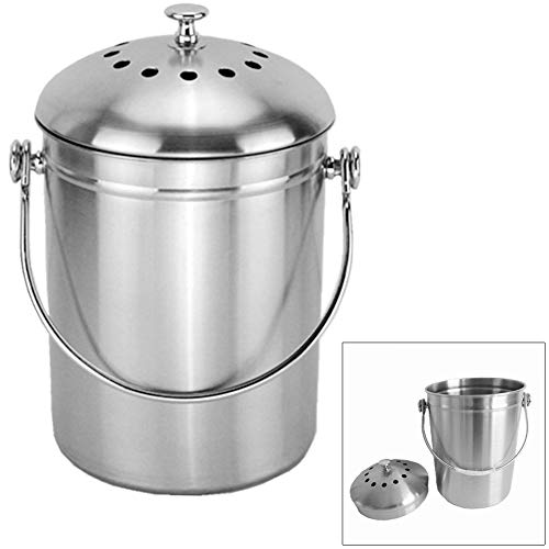 New MOOUS Compost Bin,Stainless Steel Kitchen Compost Pail Compost Caddy,Exterior Sanding,Perfect fo...