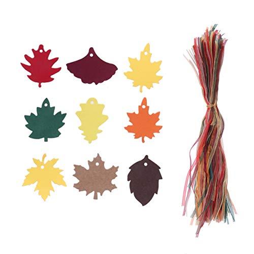 MILISTEN Geschenkanhänger 180 Stück Ahornblatt Geschenkanhänger Kraft Herbstblätter Bevorzugen Papieranhänger mit Schnüren Blatt Geschenk Hängen Etikett für Weihnachten Thanksgiving