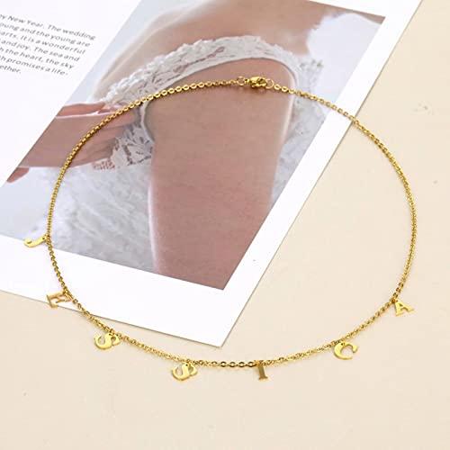 SONGK Nombre Personalizado Carta Collar y Colgante Gargantilla Collar de Acero Inoxidable Cadena de Oro Collares de eslabones para Mujeres joyería de declaración 55 CM