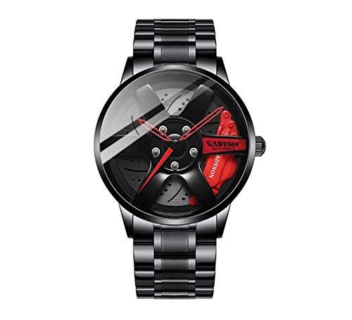 LEDM Reloj para Hombre Impermeable Movimiento de Cuarzo japonés Moda Tira de Acero Inoxidable Reloj de Cubo de Rueda de Coche,Rojo