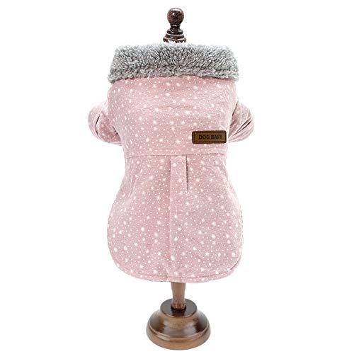 SMALLLEE_Lucky_Store Chaqueta Abrigo Forro Polar Invierno Lana Kawaii Ropa de Chihuahua Yorkshire para Perro Pequeño Rosa L