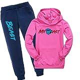 Mr Beast Merch - Sudadera con capucha y pantalones para niños, Rosa Roja, 10-11 Años