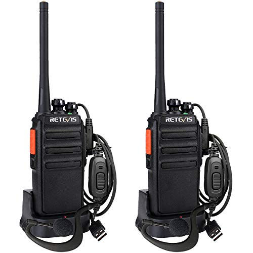 Retevis RT24V Freenet Portofoons Walkie Talkie Set 149MHz Vergunningsvrije 6 Kanalen Walkie Talkies met Headset en USB-laadstation (1 Paar, Zwart)