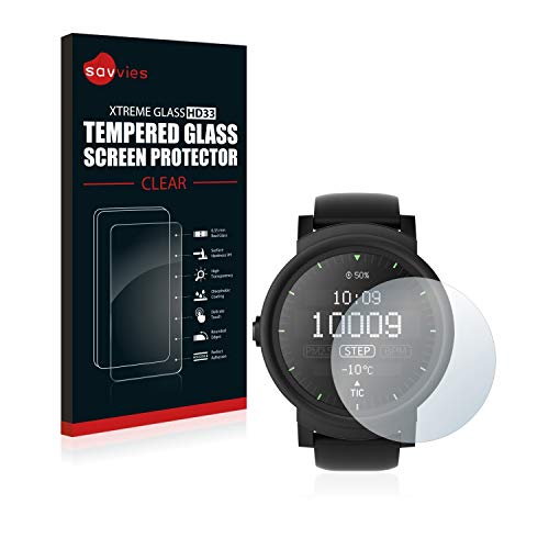 mächtig Savvies gehärtetes Glas kompatibel mit Mobvoi Ticwatch E Ice / Lemon / Shadow – echtes Glas, 9H Härte,…