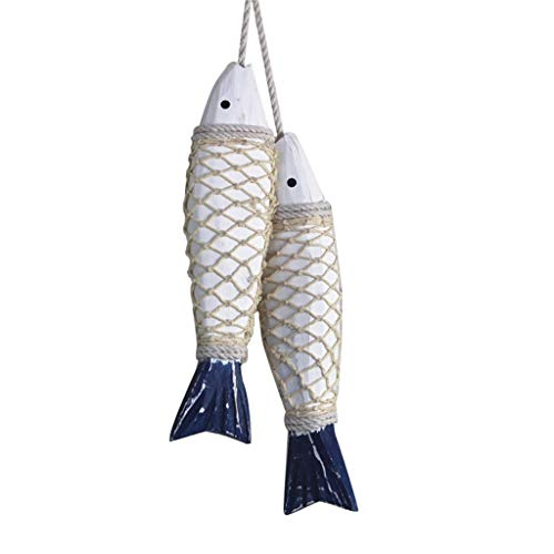 Hanging Wooden Nautical Fish Decoration Wall Decorated Door Hanging Beach Theme Decor for Home Ornament Mediterranean Style 2 Pieces Hanging Birthday Decorations