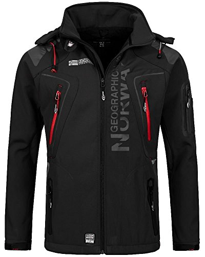 Geographical Norway Techno Softshelljacke Herren, Abnehmbare Kapuze XL Schwarz