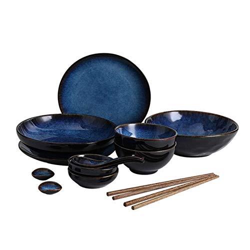 GX cuenco Cuenco de sopa de la vajilla de cerámica azul retro/tazón de arroz/plato/cuchara/palillos, juego de vajilla japonés para 2 personas Vajilla