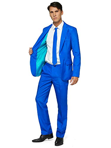 Offstream Plain Colored Suits for Men – Costumes Include Jacket Pants and Tie, S, Plain Blue