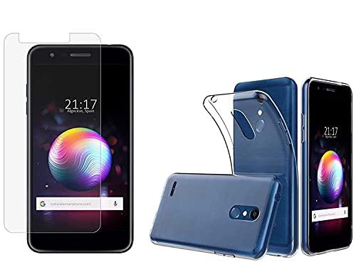Tumundosmartphone Pack 2 en 1 Funda Gel Transparente + Protector Cristal Templado para LG K11