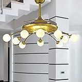 Fan Chandelier Ventilador de techo retráctil con luces y control remoto 42 pulgadas Montaje empotrado en interiores Kits de bombillas para exteriores Universal 10 luces LED Silencioso Invisible