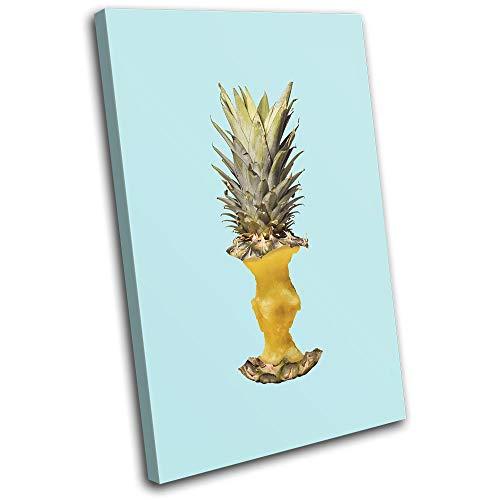 Bold Bloc Design - Pineapple Apple Concept Food Kitchen 60x40cm Single Tela Art Print Box incorniciato Appeso a Parete Foto - Pronto da Appendere - Canvas Art Print 13-4506(00B)-SG32-PO-B
