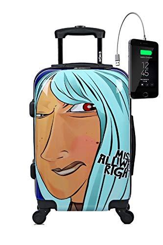 Maleta de cabina Equipaje de mano 55x40x20 Maleta juvenil trolley de viaje Ryanair Easyjet de TOKYOTO LUGGAGE Maleta Rígida MISS ALWAYS RIGHT (Preparada para cargar Móviles) (MALETA + CARGADOR)