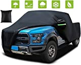 Black Car Cover Waterproof All Weather Universal UV Protective Windproof Rain Snowmobiles/Extended Cab/Pickup, w/ Reflective Strips