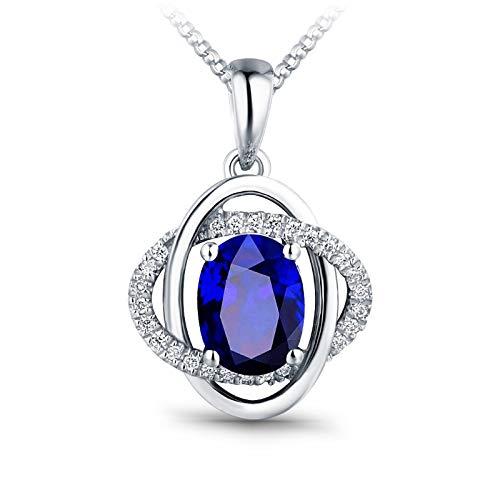 Daesar Collana Donna Oro Bianco 18K 0.85ct Zaffiro Blu con Doppia Croce di Diamanti Ovale Collane Ciondolo Donnacollana Argento Girocollo