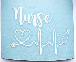 Registered Nurse Stethoscope Heart Vinyl Decal   RN Sticker for Yeti Cup, Tumbler, Car, Truck, SUV, Laptop   Gifts for Nurse   White, 3 inches x 4 inches