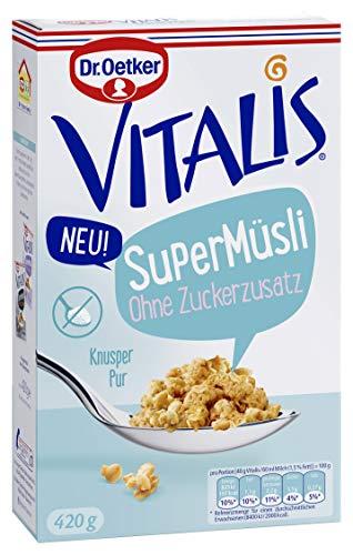 Dr. Oetker Vitalis SuperMüsli ohne Zuckerzusatz, leckeres pures Knuspermüsli ohne zugesetzen Zucker, 7er Pack (7 x 420 g)