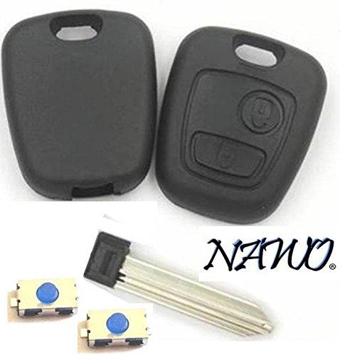CLE-AUTO Coque clé plip 2 Boutons générique Compatible Citroen Berlingo Xsara Picasso, Saxo sans vis + 2 Boutons Switch- Marque NAWO