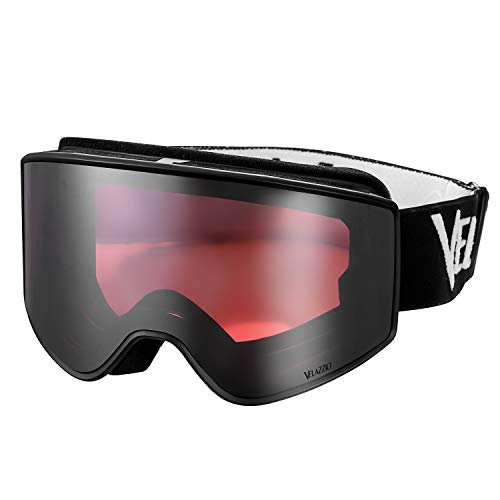 VELAZZIO OTG Ski Goggles, Snowboard Goggles - Double Layer Interchangeable Lens, UV Protection, Anti-Fog (Black Frame / Red Lens with Light Silver Coating (VLT 21%))