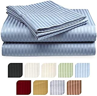 Crystal Trading 4-Piece Bed Sheet Set - Dobby Stripe - Microfiber - (Queen, Light Blue)