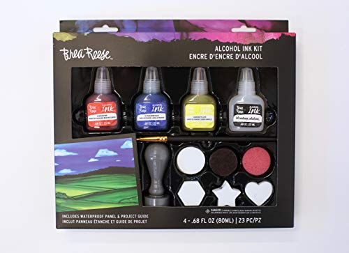 Brea Reese Alcohol Ink Art Kit - Set of Three Alcohol Inks, One Blending Solution and 17 Tools - Everything You Need to Create with Confidence