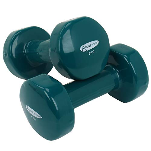 ActiveForever Dumbbell,Dumbbells in Pairs or Sets with Brackets,Non-Slip,Anti-Roll(Grass green, 5Kg)