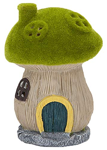 Roots & Shoots Garden Mushroom House with Solar Lights Flocked Grass & Stone Effect Ornament