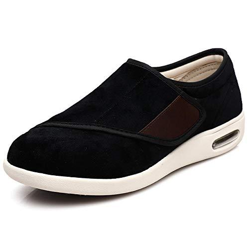 B/H Unisex Punta Abierta Ancho Ajustable,Zapatos Ancianos mamá papá, Zapatos diabéticos-Negro_44,Zapatillas para Pies Hinchados, Edemas, Ancianos, Hombres, Mujeres