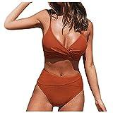 Damen Badeanzug Push Up High Cut Schnürhalfter Bikini Set Zweiteiliger Bikini Oberteil High Waist Wickel Bikinihose Tiefer V Ausschnitt Sportlich Zweiteiliger Strandbikini (Rot-C, S)