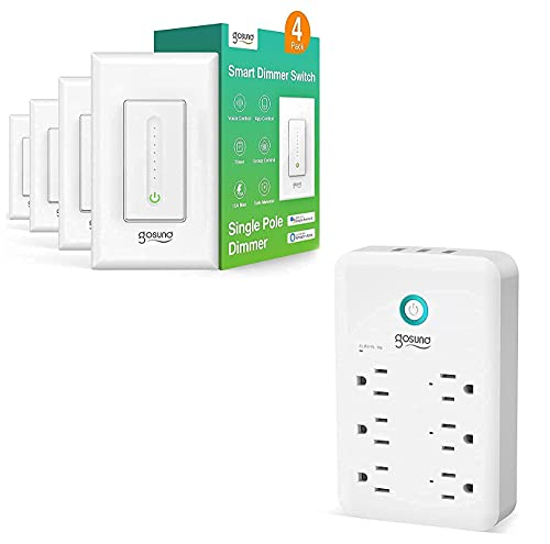 Smart Dimmer Switch, WiFi Smart Light Switch Work with Alexa and Google Home and Smart Plug Outlet Extender, Gosund Surge Protector Power Strip