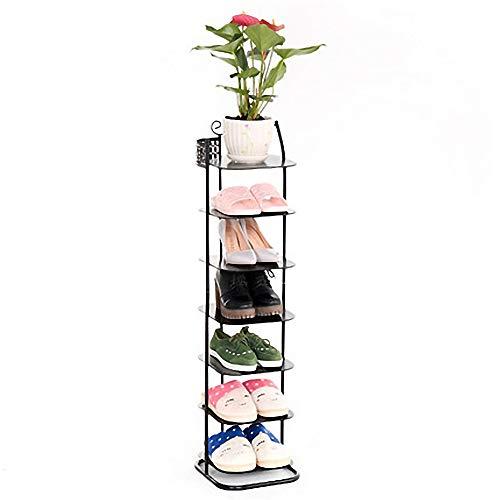sencillo Bastidor de zapatos de hierro forjado de 7 capas Zapato de torre Organizador de almacenamiento Unidad de entrada Armario apilable Estante de zapatos duradero 26.5 * 29 * 102C M ahorra espacio