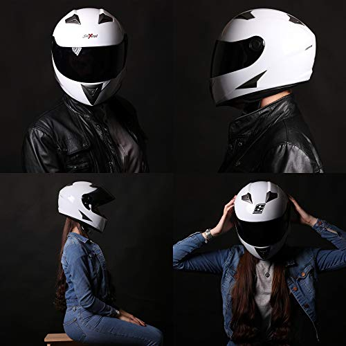 SOXON ST-550 Fighter · Integral-Helm Scooter-Helm Urban Motorrad-Helm Roller-Helm Cruiser Sport Helmet Sturz-Helm · ECE zertifiziert · inkl. Sonnenvisier · inkl. Stofftragetasche · Schwarz · XS (53-54cm) - 7